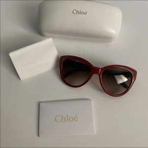 Chloe red and gold sunglasses $350.00